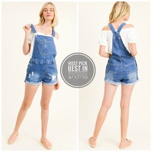 NEW! Distressed Racer Back Boho Denim Overalls